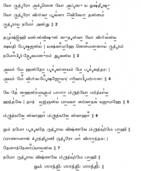 Sri Rudram Chamakam - Tamil script with svara and the